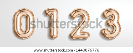 Soft rose Gold balloon number 0, 1, 2, 3  realistic 3d render air balloon. Collection of balloons number ready to use. Holiday and party. 3d vector icon set. Foil balloon number zero isolated on white