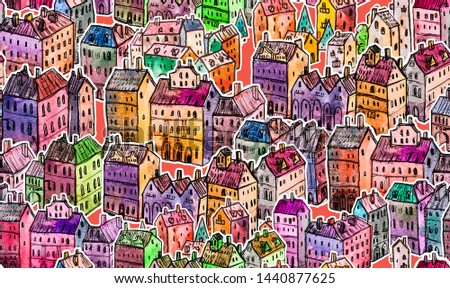 City. Patterns. Illustrations. Houses. Drawings. #1440877625
