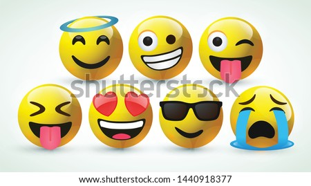 high quality icon 3d vector round yellow cartoon bubble emoticons for social media Whatsapp Instagram Facebook  Twitter chat comment reactions icon template face tear, laughter emoji character message #1440918377