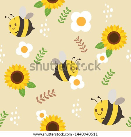 The seamless pattern of bee and sunflower and white flower and leaves. Illustation about bee for for background , banner, sticker label and greeting card.