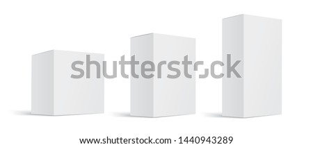 Mock up white cardboard box. Set of cosmetic or medical packaging. Set of Blank white product packagings boxes isolated on white background. Vector illustration #1440943289