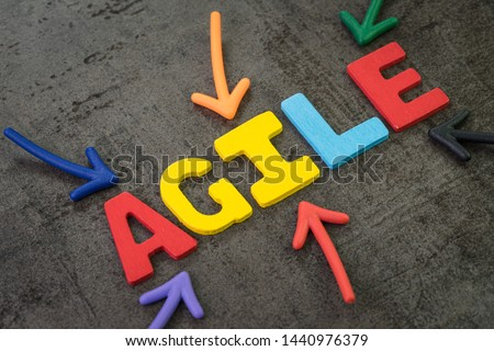 Agile development, new methodology for software, idea, workflow management concept, multi color arrows pointing to the word AGILE at the center of black cement chalkboard wall, fast and flexible. #1440976379