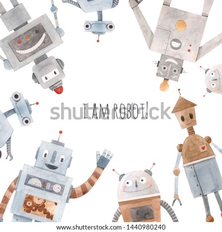 Watercolor cute baby print with  robots.