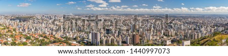 Super High Quality Aerial Horizontal Panorama on a Sunny Day of Belo Horizonte in Minas Gerais State, Brazil - Mangabeiras Park Belvedere Looking at South Central Region (80 Mega Pixels) #1440997073
