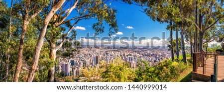 Super High Quality Aerial Horizontal Panorama on a Sunny Day of Belo Horizonte in Minas Gerais State, Brazil - Mangabeiras Park Belvedere Looking at South Central Region (90 Mega Pixels) #1440999014