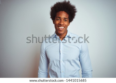 Young african american man with afro hair wearing elegant shirt over isolated white background with a happy and cool smile on face. Lucky person. #1441015685
