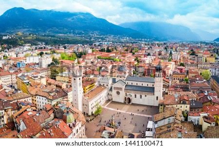 Trento Cathedral or Duomo di Trento aerial panoramic view. Duomo is a roman Catholic cathedral in Trento city in Trentino Alto Adige in Italy. #1441100471