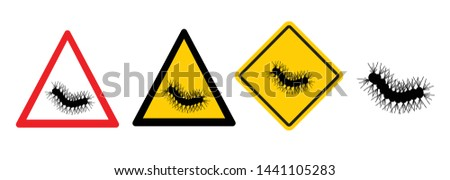 Stop Pine or Oak processionary marching Caterpillar moth Waring procession OPM signs Tiny hairs allergic reaction Poisonous banner Vector tree lind Beware sign Nest, swarm of thaumetopoea processione