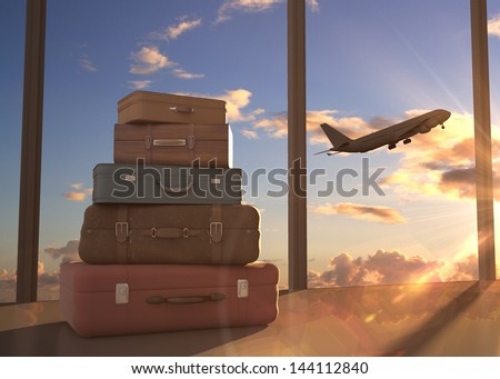 travel bags and airplane in sky Royalty-Free Stock Photo #144112840