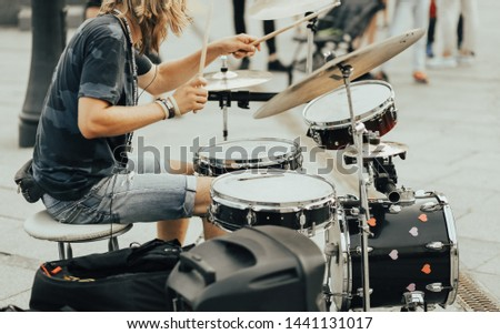 Kiev / Ukraine - September 1 2018: Street drummer playing for people #1441131017