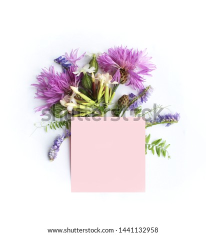 Lilac flowers on white background. Beauty in simplicity.  Festive floral arrangement. Background for invitations, greetings, postcards. #1441132958
