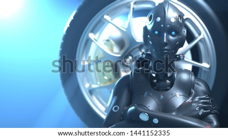 woman robot on the background of the automobile wheel. 3D rendering #1441152335