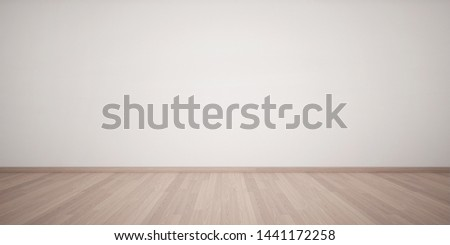 3d rendering of interior. Empty white wall and light wooden floor. Minimal design. Empty interior background. #1441172258