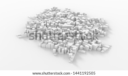 Abstract white city center. Cityscape background. 3d rendering. #1441192505