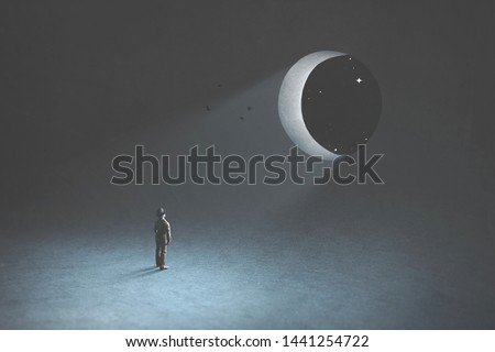 dream and fantasy, man observing the moon in the night that is a hole in the blue dark sky, surreal concept #1441254722