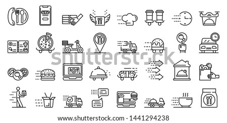 Food delivery service icons set. Outline set of food delivery service vector icons for web design isolated on white background #1441294238