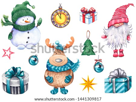 Christmas set with snowman, funny moose, nisser, gift boxes, clock, balls and stars. Watercolor isolated on white.