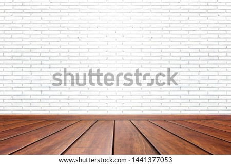 Empty interior room with white cement wall texture and brown wooden floor pattern. Concept interior vintage style #1441377053