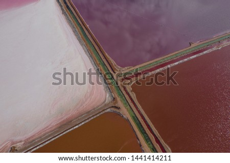 Aerial view of Salt mining drying beds #1441414211