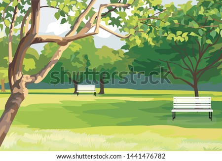The green park is public area to relax and do activity together Royalty-Free Stock Photo #1441476782
