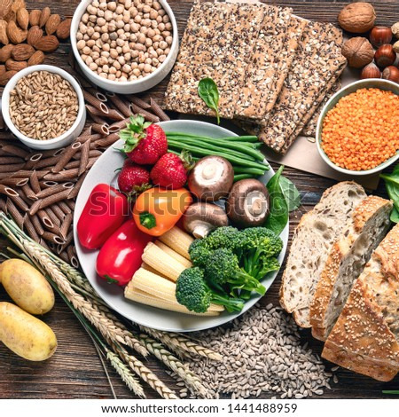 Healthy natural ingredients  containing  dietary fiber. Healthy high fiber diet eating concept with antioxidants and vitamins #1441488959
