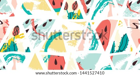 Cactus and ice cream summer seamless triangles pattern. Watermelon background. Stock vector #1441527410