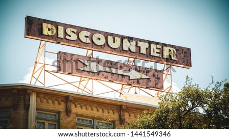 Street Sign the Direction Way to Discounter #1441549346