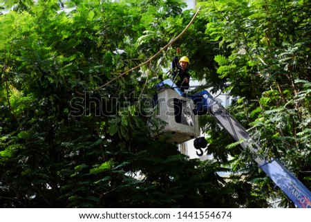 HO CHI MINH CITY, VIET NAM- MAY 23, 2019: Vietnamese worker work on boom lift to cut branch of tree for safety in rain season in urban, crane truck on road for group of people working, Vietnam #1441554674