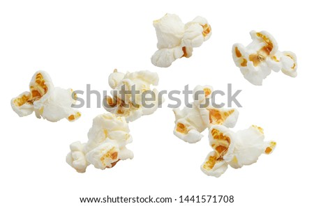 Falling popcorn, isolated on white background #1441571708