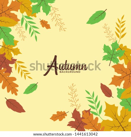 Hello Autumn Frame Vector Design for Invitation Card and Poster #1441613042