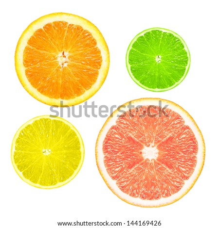 Stack of citrus fruit slices  isolated on white background. #144169426
