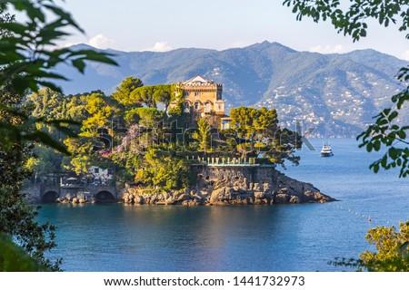 Beautiful natural view of the Bay of Paraggi in Santa Margherita Ligure, Mediterranean seacoat near luxury sea resort Portofino, Italy Royalty-Free Stock Photo #1441732973