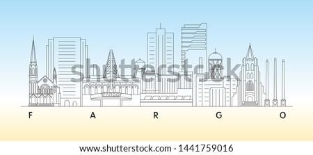 Fargo, North Dakota skyline vector illustration and typography design  #1441759016