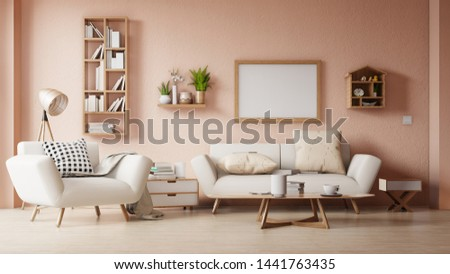 Interior poster mock up living room with colorful white sofa . 3D rendering.  #1441763435