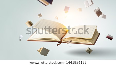 Books flying messy isolated on white #1441856183