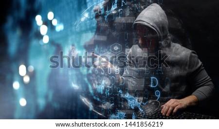 Hacker in hoodie dark theme #1441856219