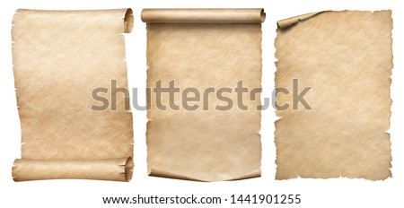 Three vintage paper or parchments collection isolated on white
