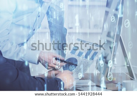 Multi exposure of tech drawings with man working on computer background. Concept of innovation. #1441928444