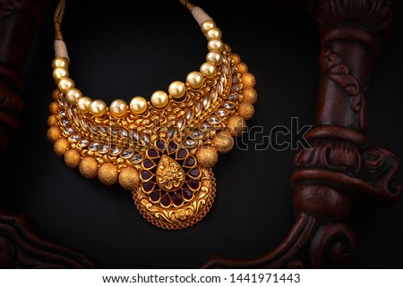 real pearl necklace temple jewellery #1441971443
