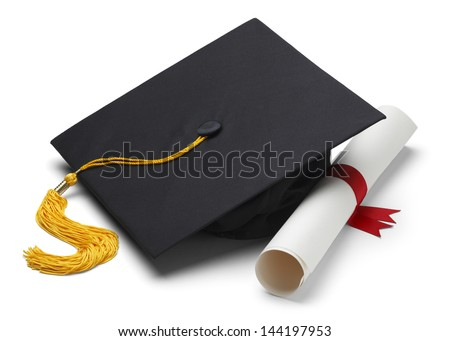 Black Graduation Cap with Degree Isolated on White Background. Royalty-Free Stock Photo #144197953