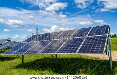 solar panel solar panels, blue sky with white clouds  #1442060156
