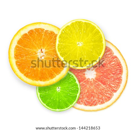 Stack of citrus fruit slices  isolated on white background. #144218653