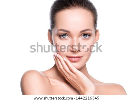 Beauty skin woman face cosmetic concept healthy hair and natural makeup #1442216345