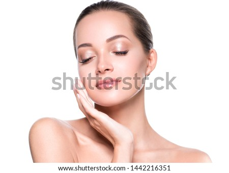Beauty skin woman face cosmetic concept healthy hair and natural makeup #1442216351