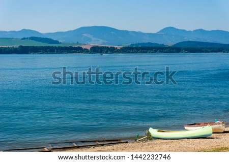 Boats on the beach of Liptovska Mara lake, Slovakia #1442232746
