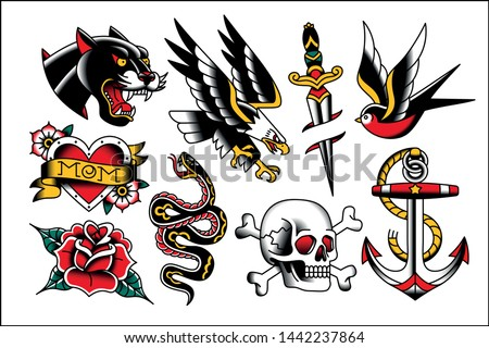 Vector Set Of Old School Tattoo Designs Royalty-Free Stock Photo #1442237864