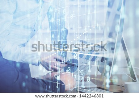 Multi exposure of tech drawings with man working on computer background. Concept of innovation. #1442246801