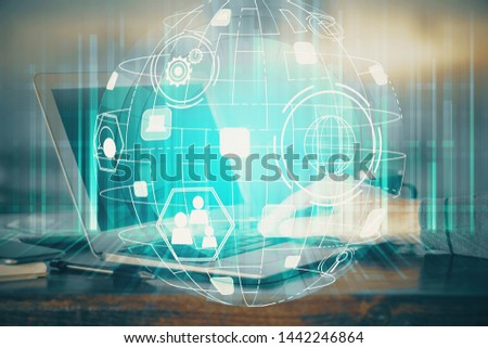 Social network theme hologram with businessman working on computer on background. Concept of world wide web. Multi exposure. #1442246864