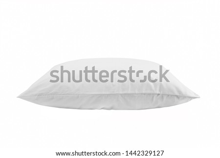 White pillow isolated, one pillow on a white background. Side view. #1442329127