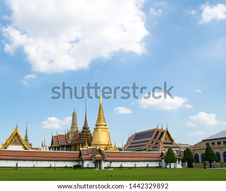 Grand palace and Wat phra keaw in Bangkok, Thailand, Southeast Asia - Fancy and colorful exterior architecture design. Famous attraction for tourists. Sunny weather. Popular place for sightseeing. #1442329892